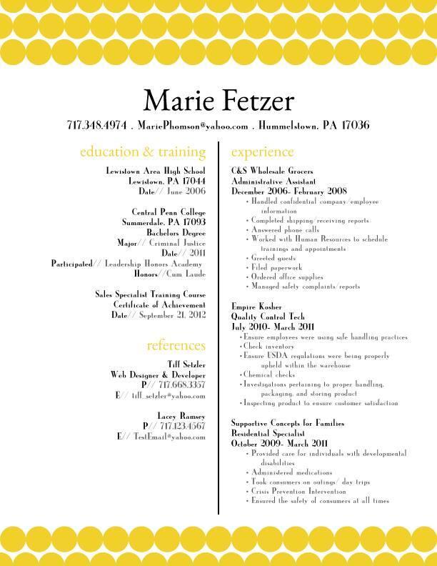Marie Fetzer Resume