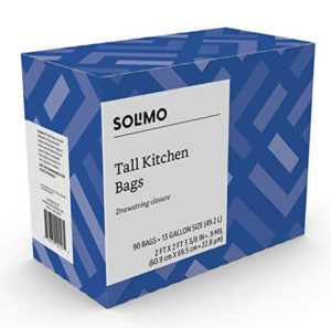 Solimo Tall Kitchen Drawstring Trash Bags